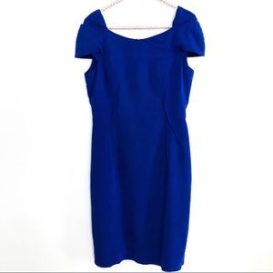 REISS Royal Blue Sheath Midi Dress Cap Sleeves